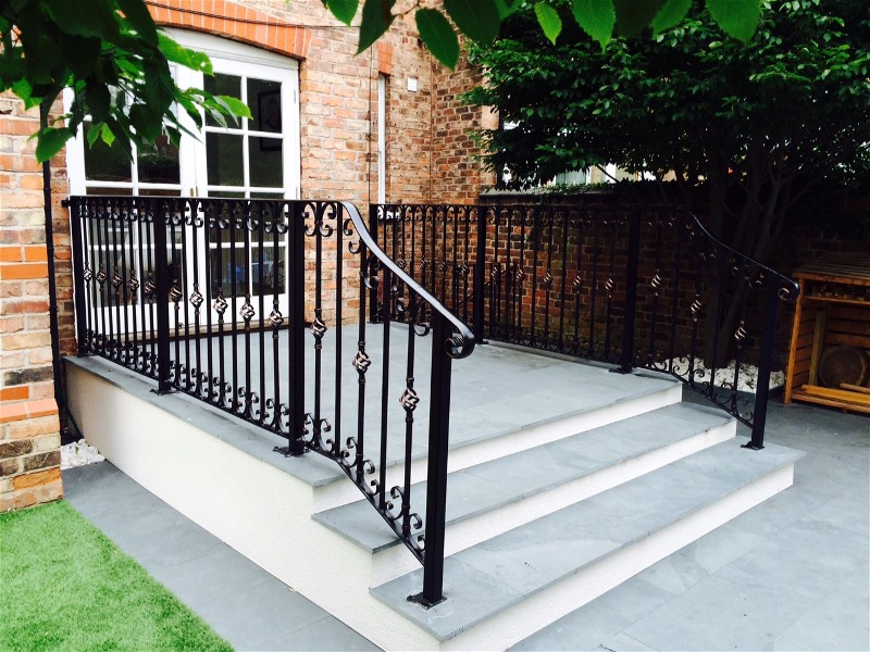 wrought iron step handrail